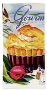 Gourmet Cover Illustration Of A Souffle And Tulip Beach Sheet