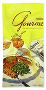 Gourmet Cover Illustration Of Grilled Breakfast Beach Sheet