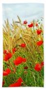 Grain And Poppy Field Beach Sheet