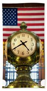 Grand Central Clock Beach Towel