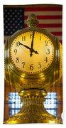 Grand Central Clock Beach Towel