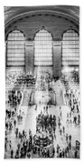 Grand Central Terminal Birds Eye View I Bw Beach Towel