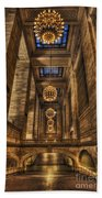 Grand Central Terminal Station Chandeliers Beach Towel