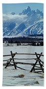 1m9306-grand Tetons From Ranch Country Beach Towel