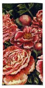 Grandma Lights Peonies Beach Towel