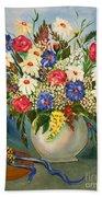 Grandma's Hat And Bouquet Beach Sheet