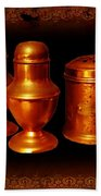 Grandma's Kitchen-copper Salt Pepper  And Flour Shakers Beach Towel