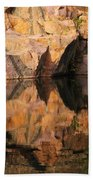 Granite Cliffs And Reflections In A Quarry Lake Beach Towel