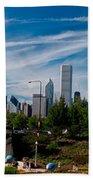 Grant Park Chicago Skyline Panoramic Beach Towel