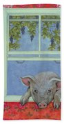 Grapes At The Window Beach Towel by Ditz