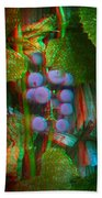 Grapes On The Vine - Use Red-cyan Filtered 3d Glasses Beach Towel