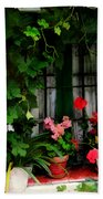 Grapevines And Geraniums Around A Window Beach Towel
