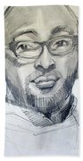 Graphite Portrait Sketch Of A Young Man With Glasses Beach Towel