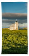 Grasslands And Flatey Church, Flatey Beach Towel