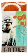 Gratitude Card- Zen Buddha Beach Towel by Linda Woods
