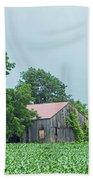 Gray Sky - Red Roofed Barn - Green Fields Beach Towel