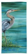 Great Blue Heron-2a Beach Towel