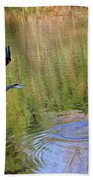 Great Blue Heron And Coot Beach Towel