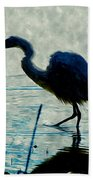 Great Blue Heron Fishing In The Low Lake Waters Beach Towel