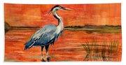 Great Blue Heron In Marsh Beach Sheet