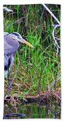 Great Blue Heron In Nature Beach Towel