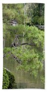 Great Blue Heron In Pond Kyoto Japan Beach Towel