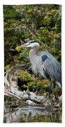 Great Blue Heron On Log Beach Towel