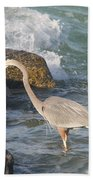Great Blue Heron On The Prey Beach Towel