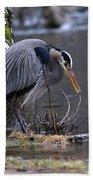 Great Blue On The Clinch River II Beach Sheet