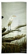 Great Egret On A Fallen Tree Beach Towel by Joan McCool