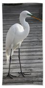 Great Egret On The Pier Beach Towel