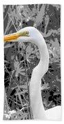 Great Egret Poster Beach Towel