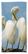 Great Egrets At Nest Beach Towel