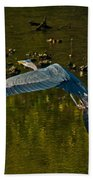 Great Heron Over Oyster Beds Beach Towel