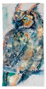 Great Horned Owl In Gold Beach Towel