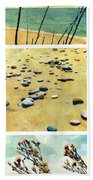 Great Lakes Triptych 2 Beach Towel by Michelle Calkins