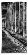 Great Northern Railroad Snow Shed - Black And White Beach Towel