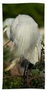 Great Egret Takes A Stance Beach Towel