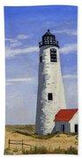 Great Point Lighthouse Nantucket Massachusetts Beach Towel