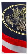 Great Seal Of The United States And American Flag Beach Towel