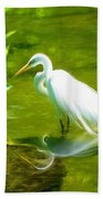 Great White Egret Bird With Deer And Fish In Lake  Beach Towel