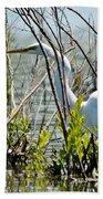 Great White Egret Beach Towel