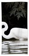 Great White Egret Eating Fish 2 Beach Towel