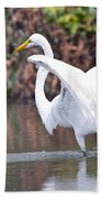 Great White Egret Fishing 1 Beach Towel