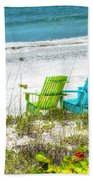 Green And Blue Chairs Beach Towel