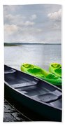 Green And Yellow Kayaks Beach Towel