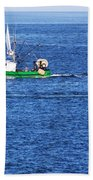 Green Boat Beach Towel
