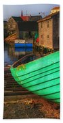Green Boat Peggys Cove Beach Towel
