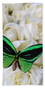 Green Butterfly With White Roses Beach Towel