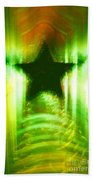 Green Christmas Star Beach Towel by Gaspar Avila